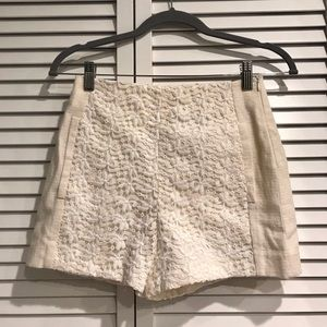 Zara Off-White Crochet Shorts